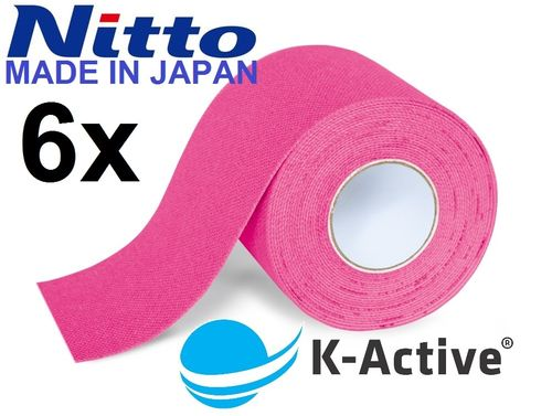 K-Active Kinesiologisches Tape Classic, pink, 5,0cm x 5m, 6 Rollen